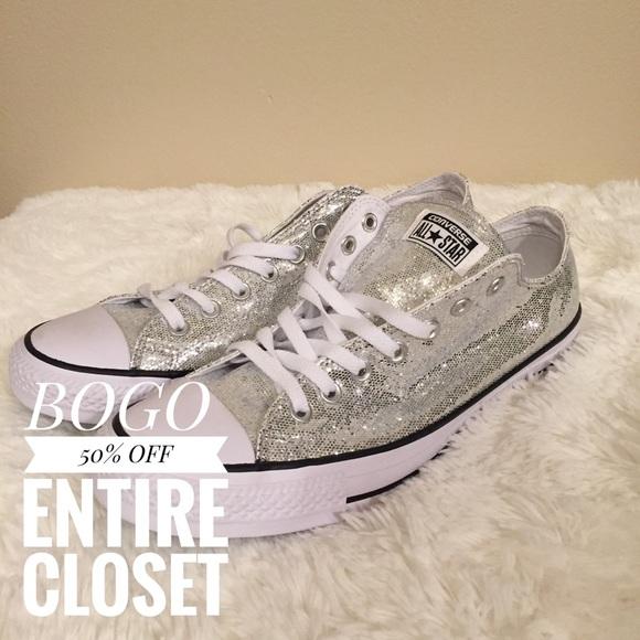 09324b7775a1c7 Converse Shoes - Womens 13 Silver Glitter Converse Low Top Sneaker